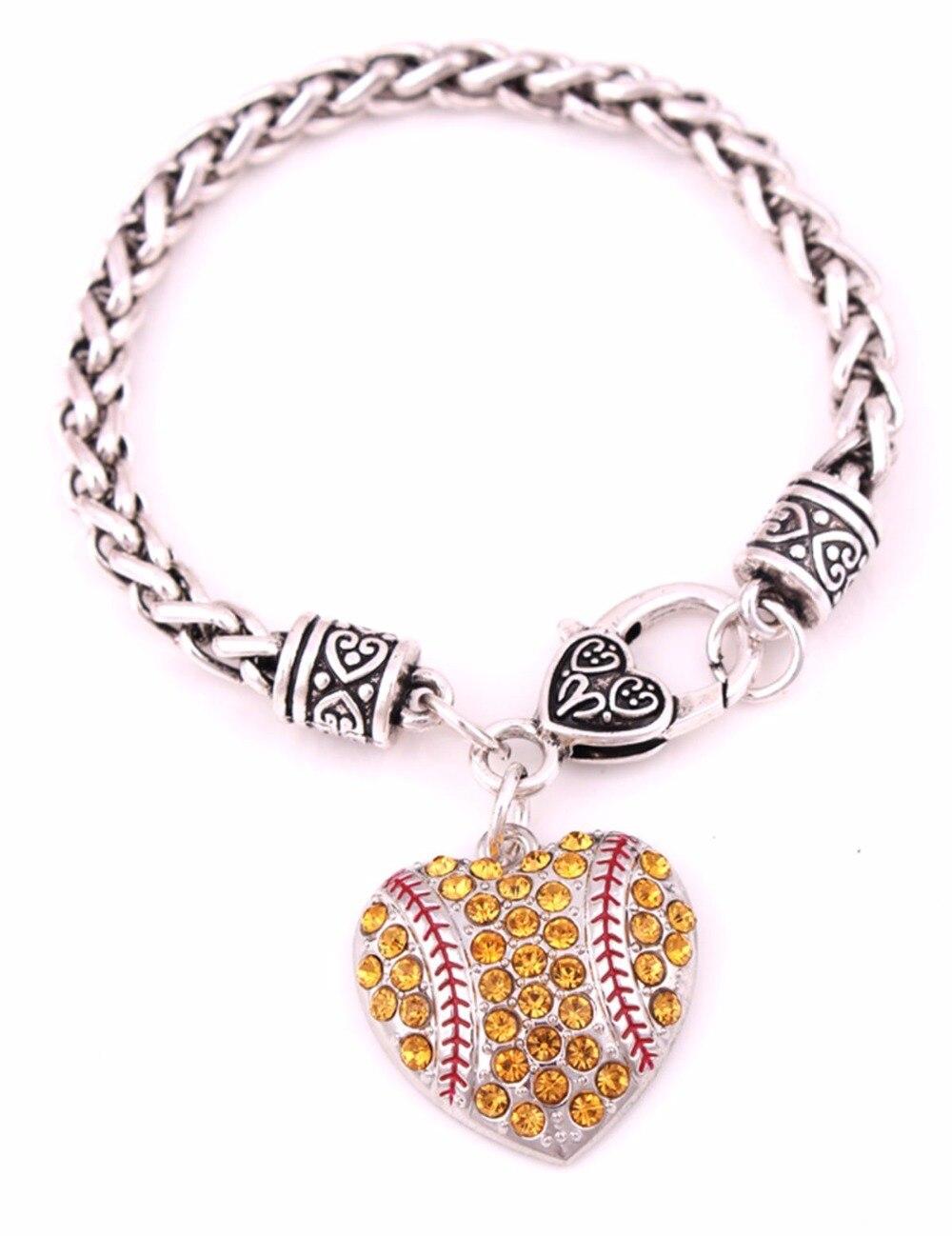 Antique Sliver Plated Zinc Studded With Sparkling Crystal Softball Heart  Pendant Charm Bracelet