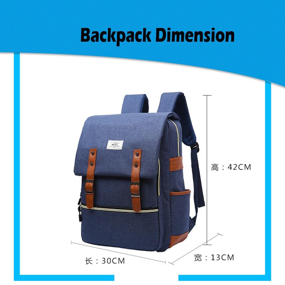 2018 Vintage Men Women Canvas Backpacks School Bags for Teenager Boys Girls Laptop Backpack with USB Charging Fashion Travel Bag (3)