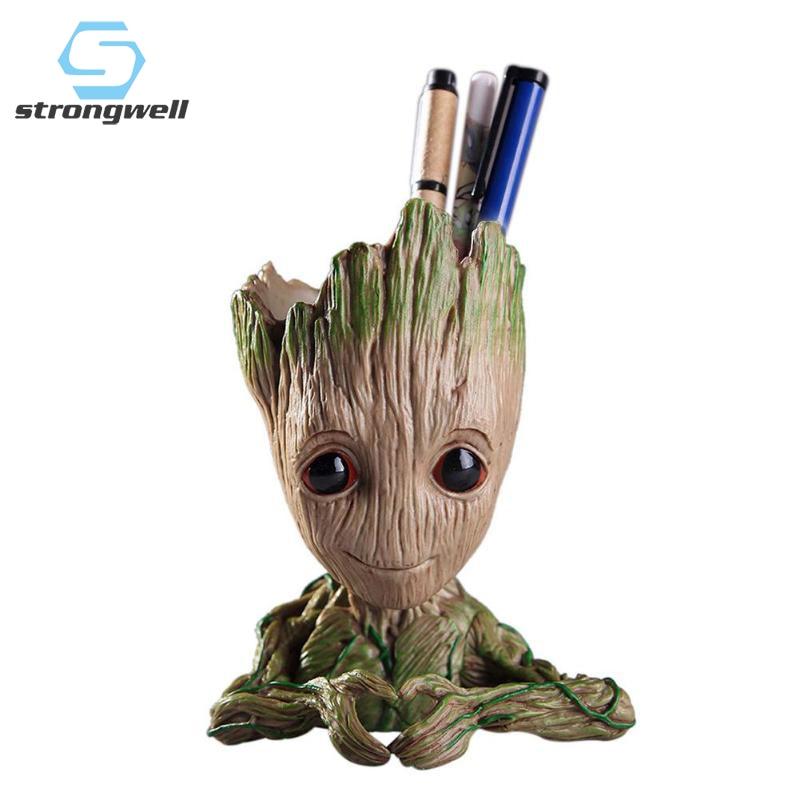 Strongwell Flower Pot Baby Groot Flowerpot Cute Toy Pen Holder PVC Hero Model Tree Man Garden Plant