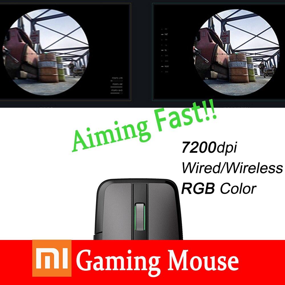 Xiao mi mi Ga mi ng souris filaire/sans fil 7200 DPI double Mode commutateur Six boutons programmables rvb couleur lumières