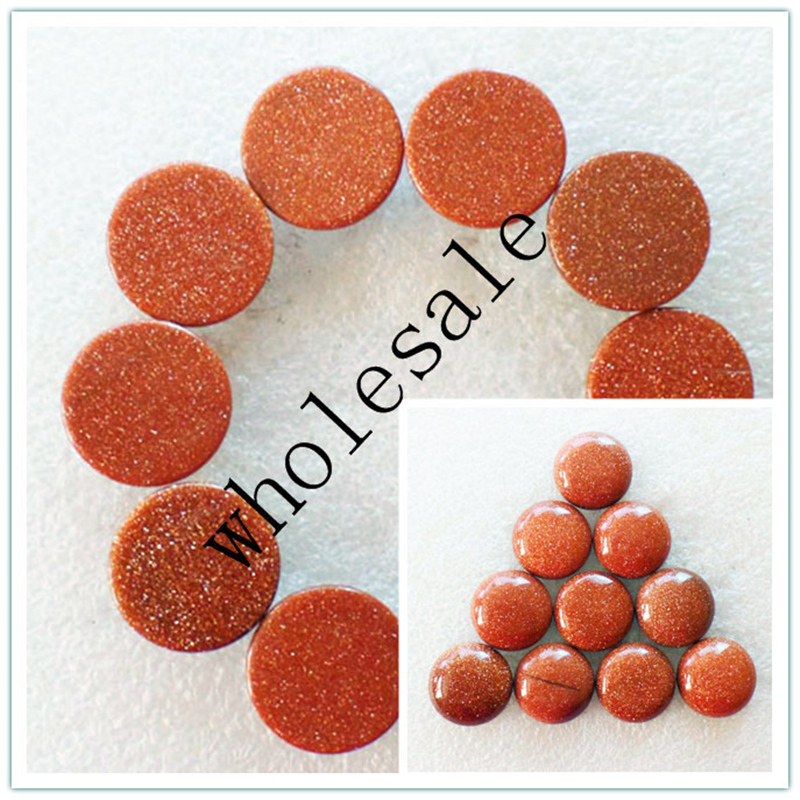 (12 pieces/lot) Wholesale High Quality Natural Gold Sand Stone Round CAB Cabochon for jewelry Accessories 16x5mm Free Shipping