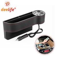 Deelife Car Front Seat Gap Organizer Slit Pocket Catcher for Driver Passenger Seat Side Storage Box PU Leather Case Cup Holder