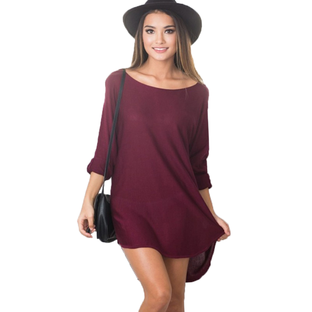 Elegant sexy spring autumn long sleeve women t shirt dress Women s long sleeve shirt dress