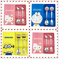 & cute cartoon Hello Kitty doraemon minions Tableware dinnerware set safe Kindergarten Baby's spoon fork with box kitchen tools