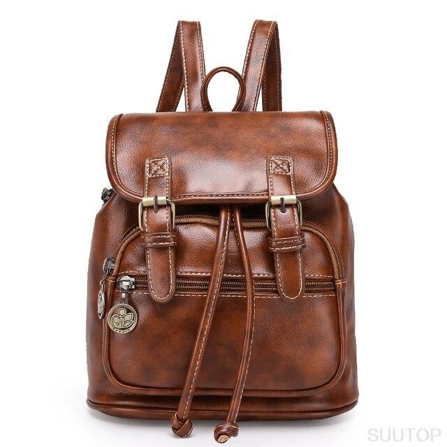 87fab4d9ddb US $29.12 |2019 New Vintage Retro Lady Leather Backpack Brown Small Women  Mini Backpack Mochila Feminina School Bags for Teenagers Bolsa-in Backpacks  ...