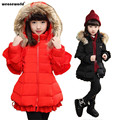 WEONEWORLD Autumn Winter Jacket for Girls Winter Coat Down Children's Winter Jackets Fur Hood Kids Outerwear Fashion Coat