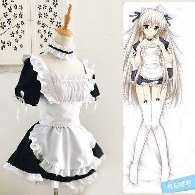 Anime Yosuga No Sora Kasugano Sora Cosplay Costume Maid Apron Dress Uniform Dress + Apron + Oversleeve + Neckwear + Headwear