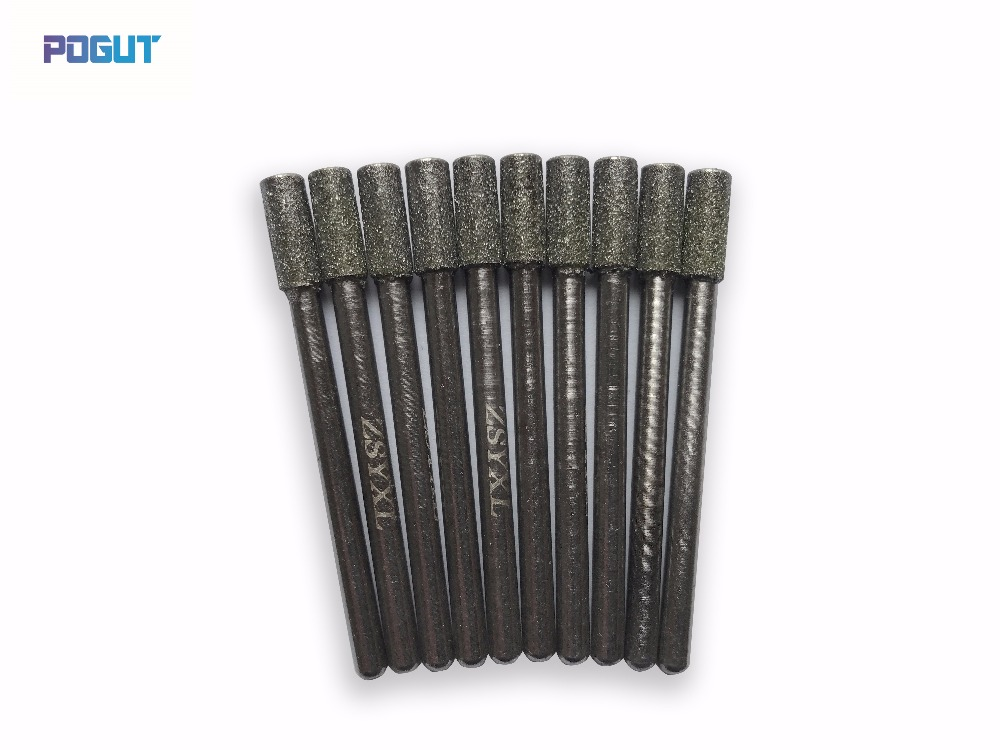 Длина 45 мм 4 мм Алмаз Цилиндрический Боры Набор DREMEL 3 мм Хвостовиком Роторный Инструмент Сверло для шлифовальные нефрита, камень, мрамор, сте…
