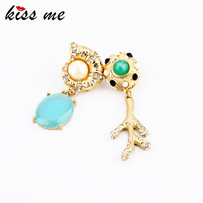 KISS ME New Designs KISS ME Fashion jewelry  Graceful Rhinestone Snail Branch Asymmetrical earrings