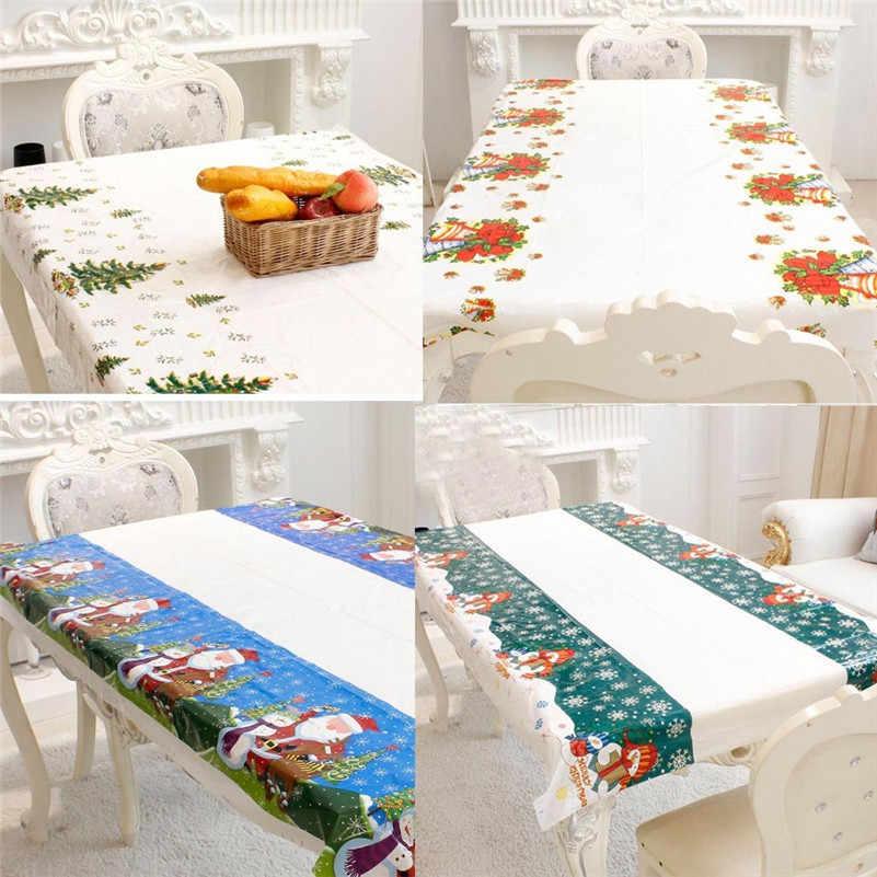 חד פעמי החג שמח מפת שולחן מלבני מודפס PVC קריקטורה שולחן בד עבור מסיבת חג המולד קישוט בית דקור # D