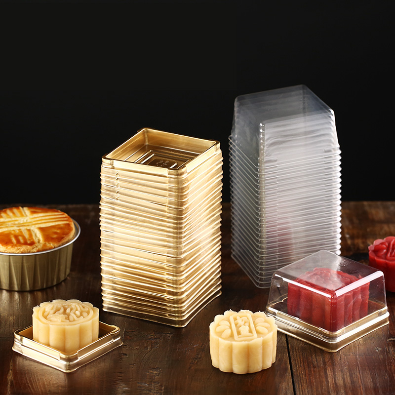 100pcs/50ste Wholesale 80g Moon Cake Trays Moon Cake Packaging Boxes Gold Plastic Bottom Transparent Cover