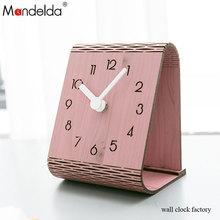 Wholesale Mandelda Modern Creative Waterproof Wooden Quartz Living Room Angle Wall Clock 3D Bracket on Table P00000WJ