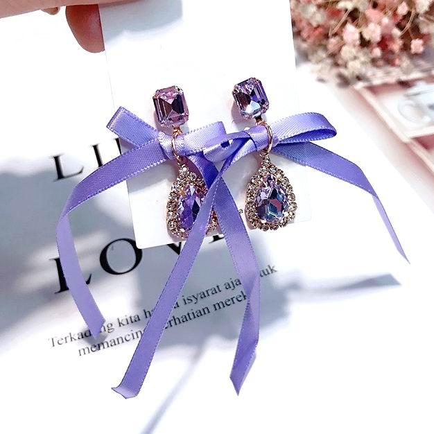 MENGJIQIAO 2018 Korean New Trendy Jewelry Big Bowknot Water Drop Crystal Earrings For Women Personality Rhinestone Pendientes