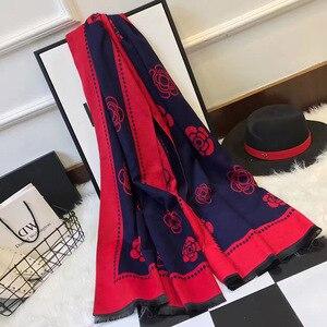 Image 2 - ผู้หญิงใหม่ฤดูหนาวผ้าพันคอผ้าพันคอผ้าพันคอผ้าพันคอคุณภาพสูงCamelliaดอกไม้พิมพ์ผ้าพันคอผ้าพันคอLady Shawlหนาผู้หญิงPashmina Wraps