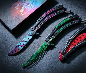 FBIQQ Новый CSGO бабочка ножи крест огонь 440C сталь клип точка простой острый металлической ручкой Training ножи для шашлыков Весна защелка