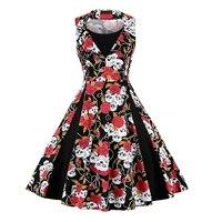 Elegant Skull Print Dress Women Vintage Retro 50s 60s 70s O Neck Plus Size 5XL Swing