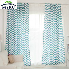 MYRU The Mediterranean style semi shade cloth curtain Sea printing blue curtains yellow curtains for bedroom
