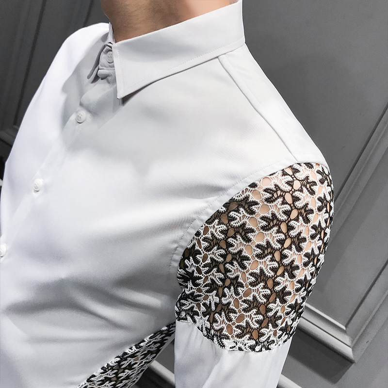 Image 5 - Spring 2019 New Men Shirt Long Sleeve Sexy Lace Patchwork Shirt Dress Streetwear mens shirts casual slim fit overhemden herenCasual Shirts   -