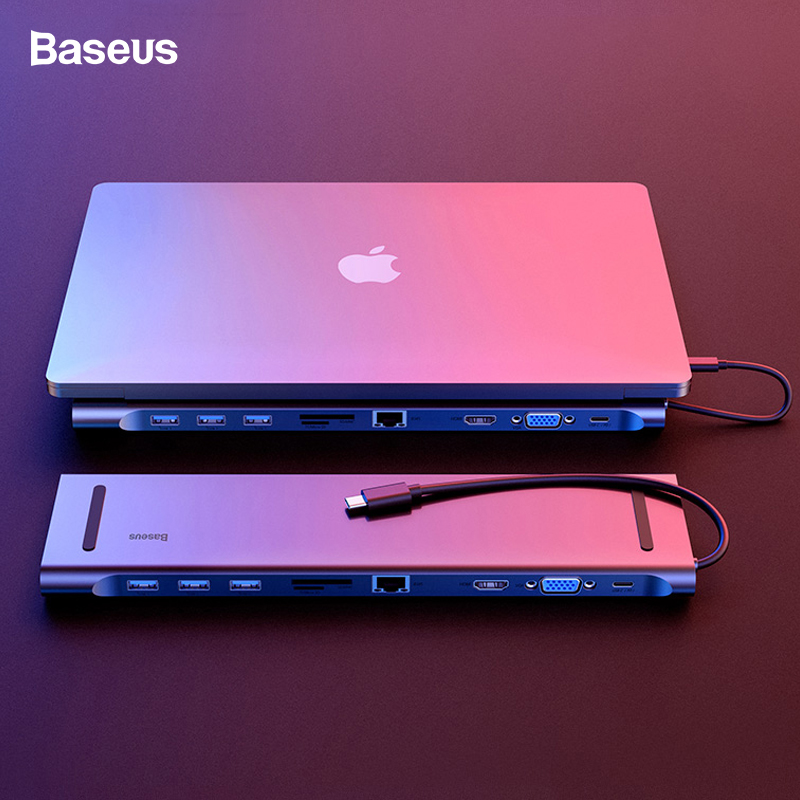 Baseus USB C HUB All in One Type C to HDMI VGA RJ45 SD/TF Card Reader Audio Converter USB Splitter For Macbook Pro USB-C 3.0 HUBBaseus USB C HUB All in One Type C to HDMI VGA RJ45 SD/TF Card Reader Audio Converter USB Splitter For Macbook Pro USB-C 3.0 HUB
