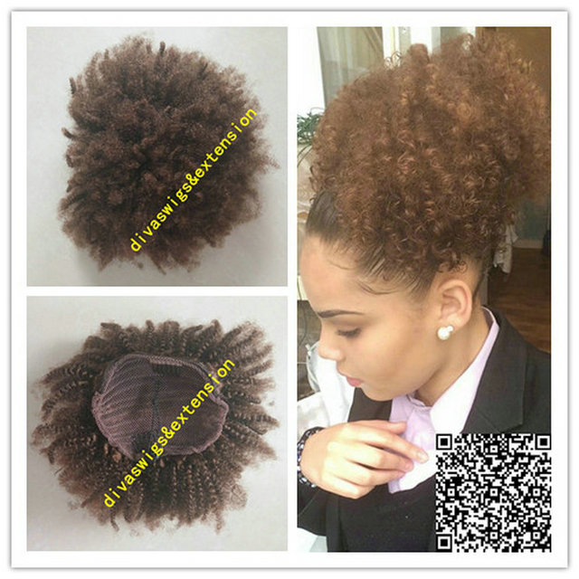 Brown Afro Kinky Curly Weave Ponytail Hairstyles Clip Ins