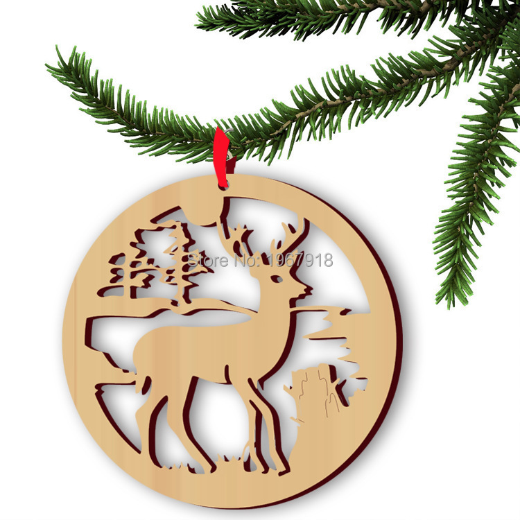 5pcsset hanging wood christmas ornaments with jute ribbon hollow christmas elk xmas gift wooden pendants tree decorations
