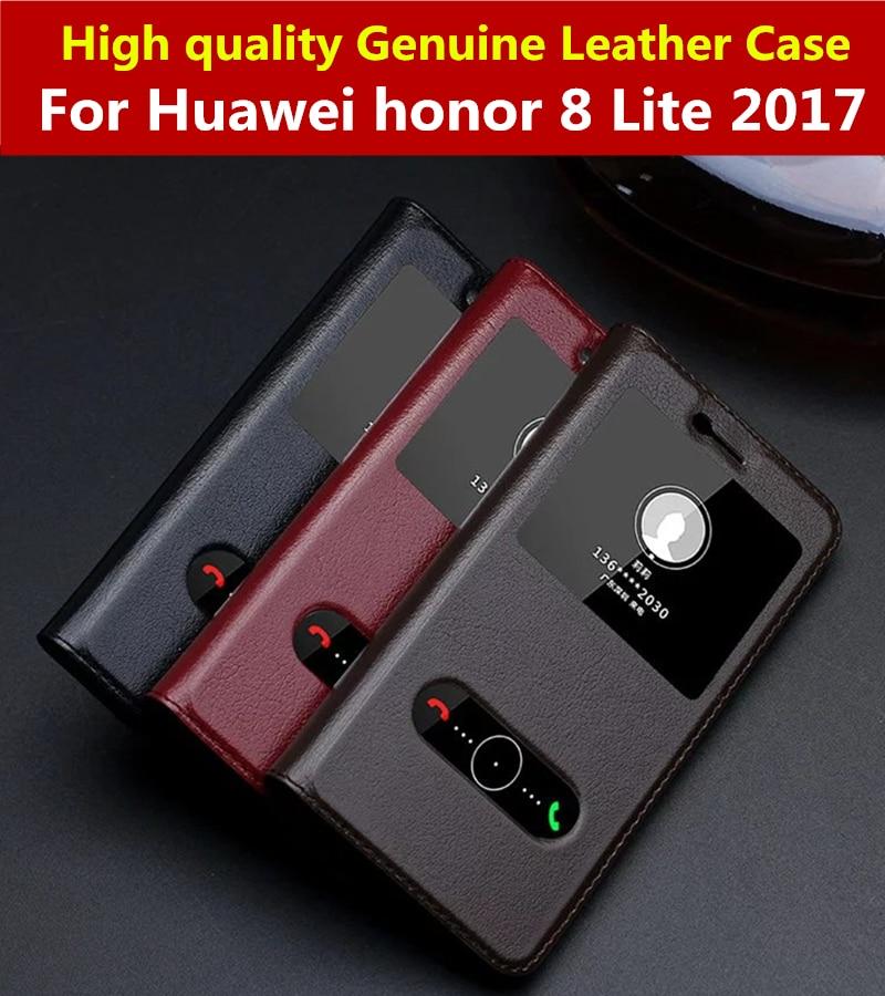 imágenes para Huawei honor 8 lite 2017 case calidad de lujo imán adsorción inteligente view case para honor 8 lite tpu cubierta del tirón del cuero genuino