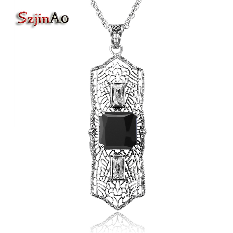 Szjinao 100% 925 Sterling Silver Pendant Ancient Fashion Thomas Sabor Jewelry Long Black Zircon Female Wholesale Free BoxSzjinao 100% 925 Sterling Silver Pendant Ancient Fashion Thomas Sabor Jewelry Long Black Zircon Female Wholesale Free Box