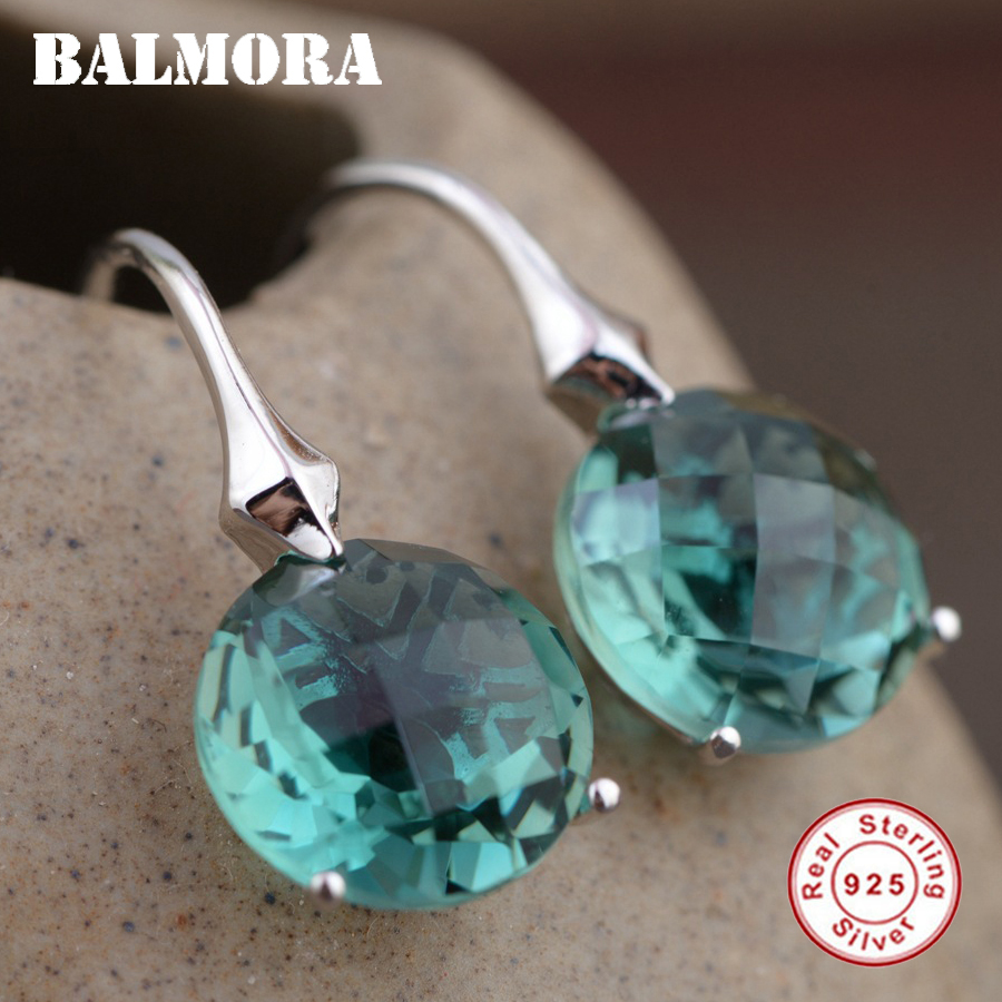 BALMORA 925 Sterling Silver Crystal Earrings for Women Lady Party Gift Classic Fashion Earrings Jewelry Brincos Bijoux TRS30860 pair of classic faux crystal tassels earrings for women