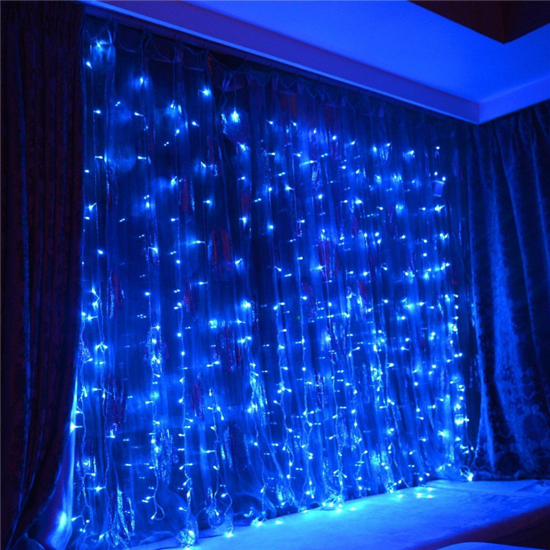 New Year 3M x 3M 300 Led christmas lights outdoor decoration fairy wedding curtain string luces de navidad luci di natale white