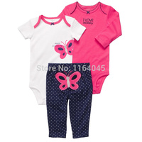GSLL3-002, Original, Baby Girls 3-Piece Set, With 2-Piece Bodysuit and 1-Piece Pants, Free Shipping