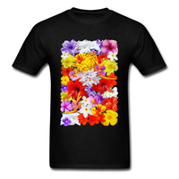 Exotic Flowers Colorful Explosion Tops Shirt Thanksgiving Day Round Collar Pure Cotton Man T Shirt Family