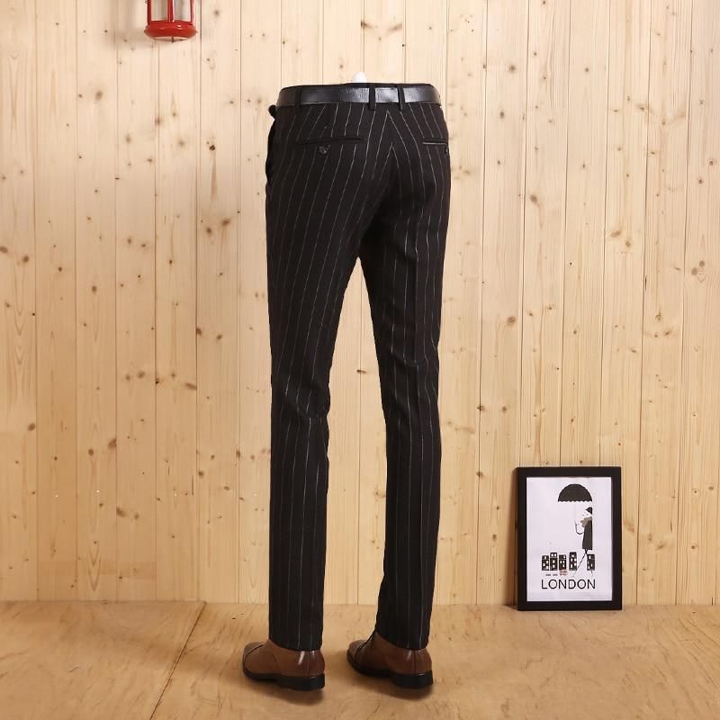Haute Automne Stripe Mariage Pantalon Hiver Décontractée Arrivée Hommes Noir D'affaires Nouvelle Long Porter Bande Homme 2017 Costumes Super Qualité Black Mince Marié 1rX14F