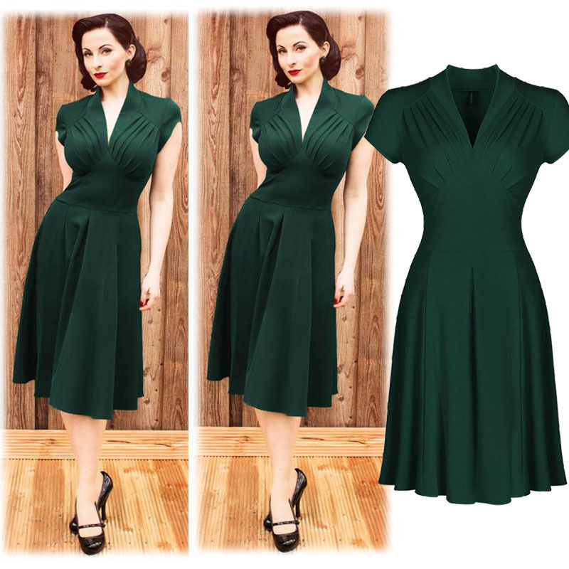 cd39a6540a3 Fashion Vintage Retro Women Dress 1940s Shirtwaist Flared Party Tea elegant  Formal Dress Women Summer Dresses Swing Skaters -in Dresses from Women s ...