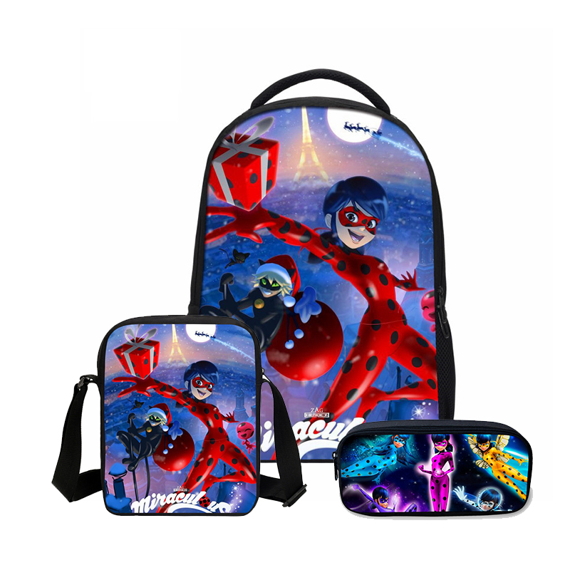 Veevanv 3 Pcs/set Storage Bags Fashion Anime Miraculous Ladybug Prints Backpacks For Girls Casual Shoulder Bags Cartoon Mochila