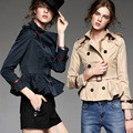 2016 otoño nueva capa de las mujeres de manga larga turn collar Cruzado adelgazar marca trinchera abrigo corto zanja