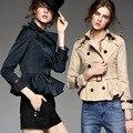 2016 outono novas mulheres casaco Trespassado de manga longa gola virada emagrecer marca trincheira casaco curto trincheira