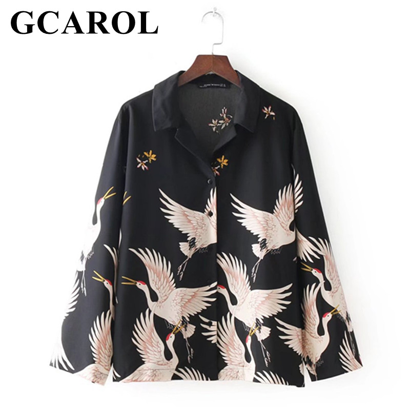 GCAROL 2018 Women Crane Floral Black Blouse Turn-Down Collar Oversize Shirt Fashion Casual Flare Sleeve Character Tops