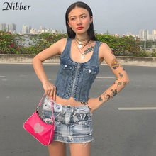 Nibber High street casual denim crop tops womens hemdje 2019 zomer mode Punk Basic mouwloze tees Slim tank tops mujer(China)