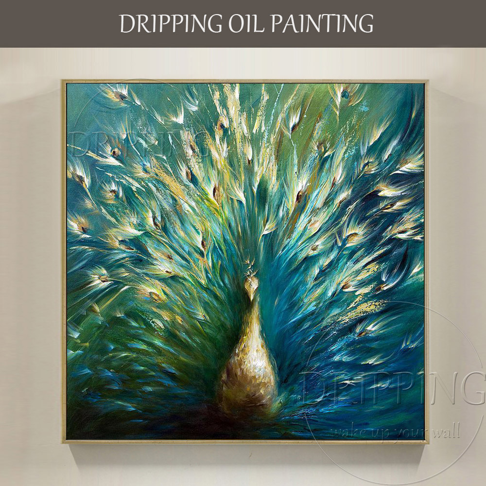Artist Hand-painted Modern Wall Art Animal Peacock Oil Painting on Canvas Beautiful Peacock Spreads Tail Feathers Oil Painting