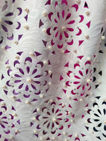 Free shipping (5yards/pc) high quality laser cut African lace fabric pure white party dress lace fabric with lots of beads CLL01