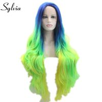 sylvia blue/green to yellow 3T ombre nature straight synthetic glueless lace front wig blue root heat resistant fiber woman hair
