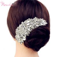 New Luxury Bridal Wedding Flower Crystal Rhinestone Hair Clip Comb Pin Drops Alloy Bridesmaid Wedding Accessories
