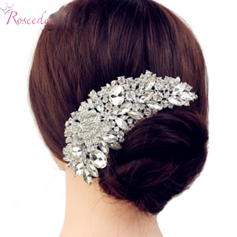 New Luxury Bridal Wedding Flower Crystal Rhinestone Hair Clip Comb Pin Drops Alloy Bridesmaid wedding Accessories JewelryRE245