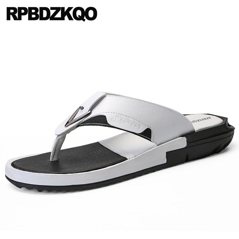7c1b132b15 Moda Verão Flip Qualidade Prova Couro Sapatos Flop branco À Água De Preto Grande  Tamanho Dos Slides Designer Brancas Homens Alta ...