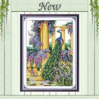 Violet fleurs paon animaux peinture DMS 14CT 11CT Point De Croix Couture Kits Compté Imprimé sur toile DMC Broderie Ensembles