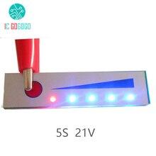 5 s 21ボルトリチウムバッテリー容量インジケータモジュールledディスプレイボードバッテリーパワーレベルメーターテスター用5ピースリポリチウムイオン電池