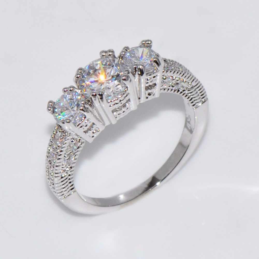 Bamos 高級女性女の子ホワイト aaa ジルコン結婚指輪シルバー色 cz 石リング約束の婚約指輪