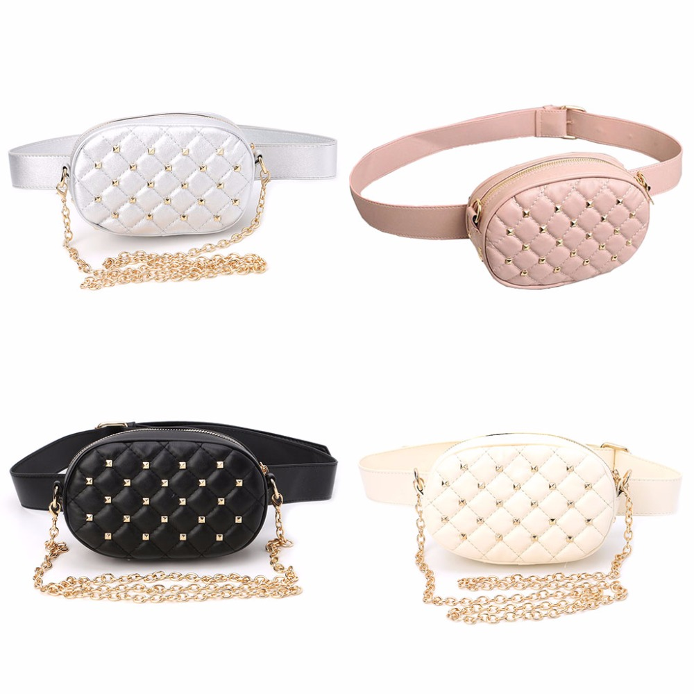 THINKTHENDO Fashion PU Leather Chain Waist Belt Bag Rivet Fanny Pack Bum Bag Waist Pouch Money Holder Black Zipper