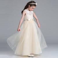 Dziewczyny ubierają Kwiat Koronka długa sukienka Ribbon suknie graduation suknie fioletowy dziewczyna suknie ślubne vestidos de festa infantil duże