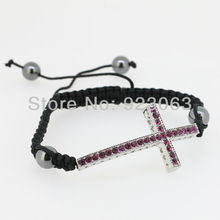 Sale 10pcs Fuchsia Crystal White Gold Color Curved Sideways Cross Connector Bead Adjustable Black Macrame Rope Jewelry Bracelet
